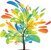 Multicolored tree splash on white background