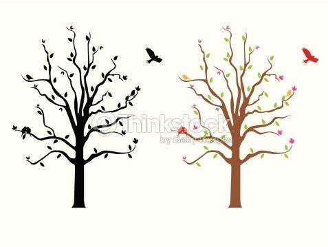 tree flowers wall decal vector art | thinkstock