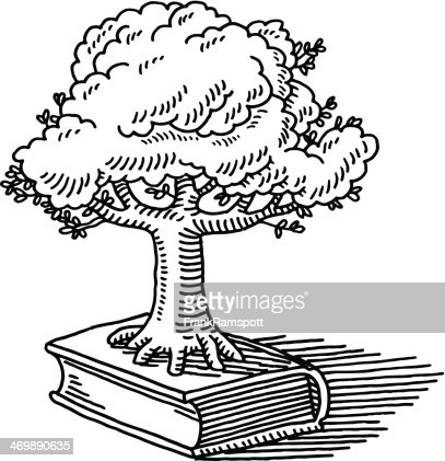 Tree Growth Book Nature Knowledge Drawing : Vector Art