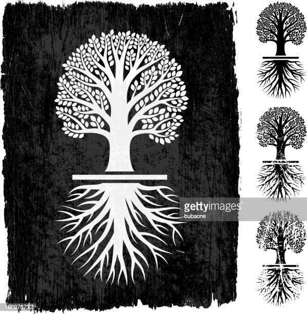 Tree Grunge royalty free vector icon set