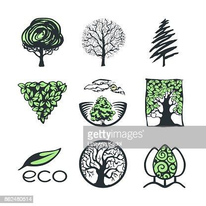 Colección de la insignia del árbol : Arte vectorial