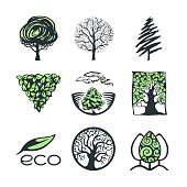 Vector set of tree logo and icons. Design template, badges, labels and logotype for business