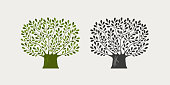 Tree logo or symbol. Nature, ecology, environment icon Vector