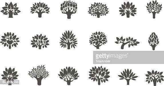 Logotipo conjunto del árbol. Conjunto de iconos ilustración del árbol. Árbol con flores : Arte vectorial