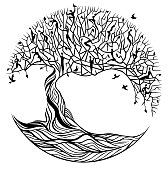 Symbolic black tree of life on white background