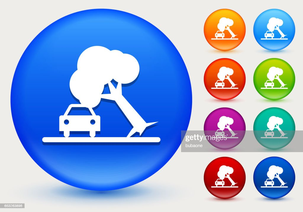 Tree on Car Accident Icon on Shiny Color Circle Buttons : Vector Art