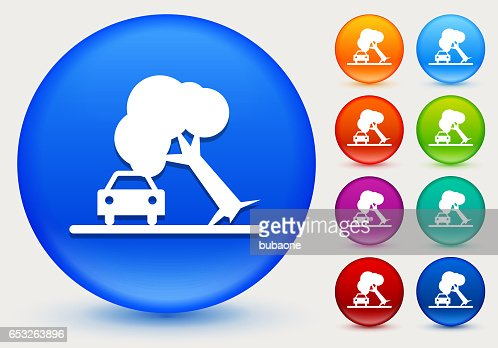 Tree on Car Accident Icon on Shiny Color Circle Buttons : Vektorgrafik