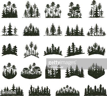Árbol al aire libre viajar silueta negra : Arte vectorial