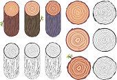 Tree rings saw cut tree trunk bark barrel natural decorative design elements set vector illustration