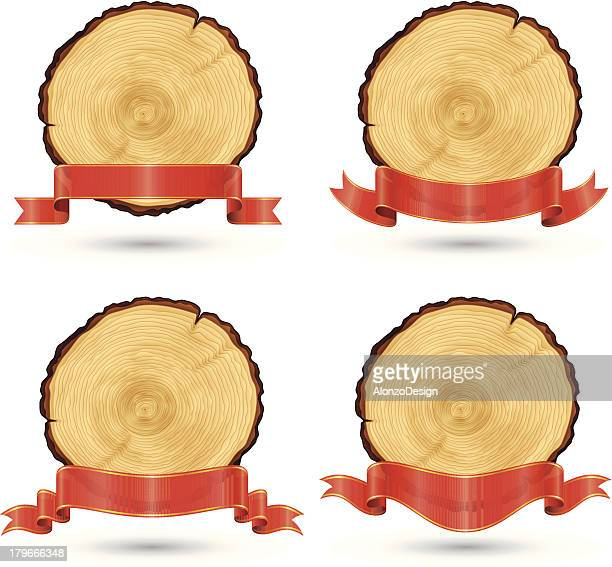 Tree Rings with Red Ribbon