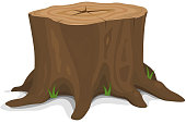 Vector illustration of a cartoon big tree stump with roots and some vlades of grass. Vector eps and high resolution jpeg files included