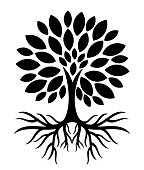 Tree with roots silhouette. Vector illustration