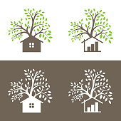 Trees and small house. Icon for accounting. Vector illustration, EPS 10
