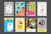Trendy cards with geometric elements. Set of vector banners in retro style -fashion 80-90s