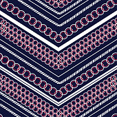 Trendy colorful polka dots pattern mix and geometric modern zig zag line seamless pattern vector for fashion,scarf ,fabric and all prints on navy blue background color