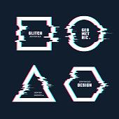 Trendy geometric shapes with glitch distortion effect. Border frames with video glitch lines vector set. Frame effect glitch, digital geometric distortion and destroyed illustration