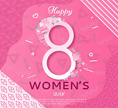 Trendy geometric women s day banner, 8 march poster in modern 90s-80s style with paper art, origami elements, patterns, flowers, woman silhouette, colorful vector illustration, background