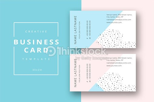Trendy Minimal Abstract Business Card Template In Pink And Blue Modern Corporate Stationary Id Layout With Geometric Lines Vector Fashion Background