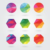 trendy modern abstract element designs in polygonal triangular geometric compositions- colorful business design icon shapes
