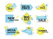 Trendy modern geometric sale badge and labels set. Vector illustration.