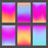 Trendy bright pink and violet gradients for smartphone screen backgrounds. Set of soft, deep, shiny gradiented wallpaper for mobile apps, ui design