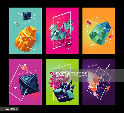 Trendy poster collection with crystals. Abstact covers set. : stock vector