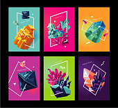 Abstact covers set with lowpoly stones. Trendy poster collection with crystals.