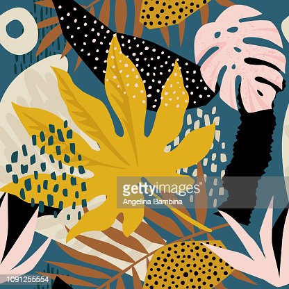 Trendy seamless exotic pattern with tropical plants and animal prints. Vector illustration. Modern abstract design for paper, wallpaper, cover, fabric, Interior decor and other users : stock vector