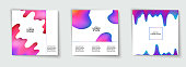 Trendy template set with futuristic modern shapes for poster, cover, card, brochure, banner. Abstract geometric pattern. Color splash. Minimal design. Vector illustration.