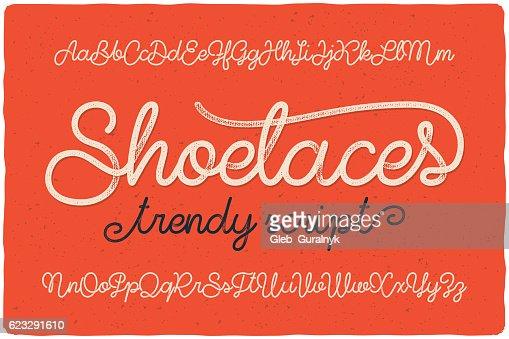 """Trendy textured one line handwritten font script named """"Shoelaces"""" : stock vector"""