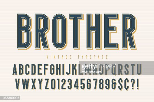 Trendy vintage display font design, alphabet, typeface : Vector Art