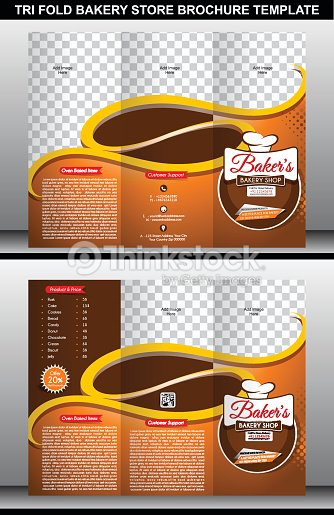 Tri Fold Bakery Store Brochure Template Vector Art Thinkstock - Bakery brochure template