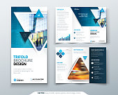 Tri fold brochure design. Blue template for Tri fold flyer. Layout with modern triangle photo and abstract background. Creative concept folded flyer or brochure.
