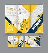 Vector Tri Fold Fitness Brochure Design Template - Fitness Brochure Design - Gym Class Brochure Design