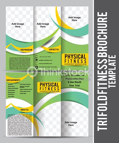 tri fold fitness brochure template design ベクトルアート thinkstock