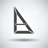 Triangle icon on gray background, round shadow. Vector illustration.