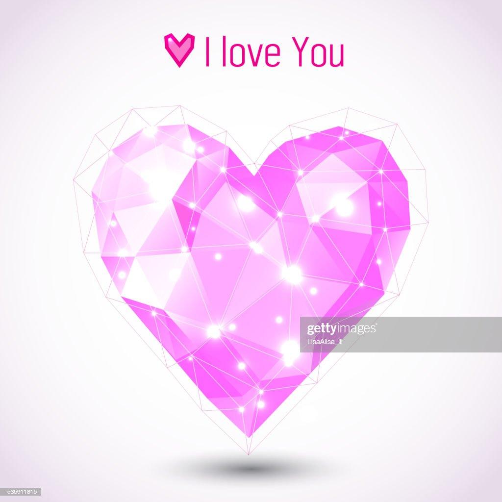 Ilustración de corazón en forma de triángulo rosa : Arte vectorial