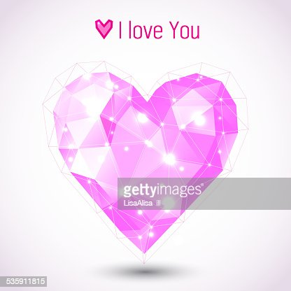Triangle pink heart illustration : Vector Art