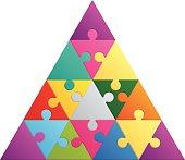 Triangle puzzle. 16 color parts.