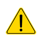 Triangle warning sign. Exclamation sign. Warning roadsign icon. Danger-warning-attention sign. Yellow background