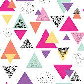 Colorful Triangles and Black Dots. Seamless Pattern