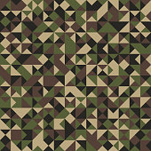 Triangular Shaped Camouflage Seamless Pattern. Abstract Vector Background.