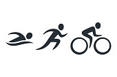 Triathlon activity icons - swimming, running, bike. Simple sports pictogram set. Isolated vector illustration.