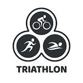 Triathlon event illustration. Swim, run and bike icons in simple modern style. Isolated vector symbol.