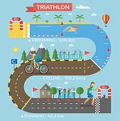Triathlon race infographic presentation template. Progress triathlon race infographic vector with people hurry each step sport icon business. Speed competition concept information.