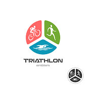 Triathlon sport symbol. Cyclist, running and swimming man silhouettes.