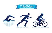 Triathlon symbols or badges set. Vector figures triathletes on a white background. Swimming, cycling and running man. Flat silhouettes
