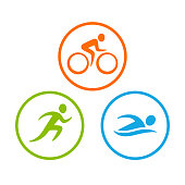 Three triathlon symbols set. Stylized human figure swim, run and bike. Isolated vector icons in circle.