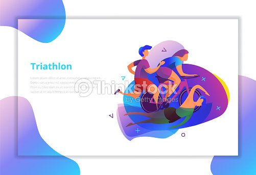 Triathlon vector illustration. Sport and activity landing page. : stock vector