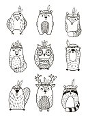 Set of vector hand drawn indian totem animal.